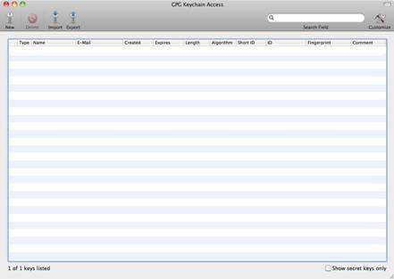 Appicazione GPG Key Access su MAC