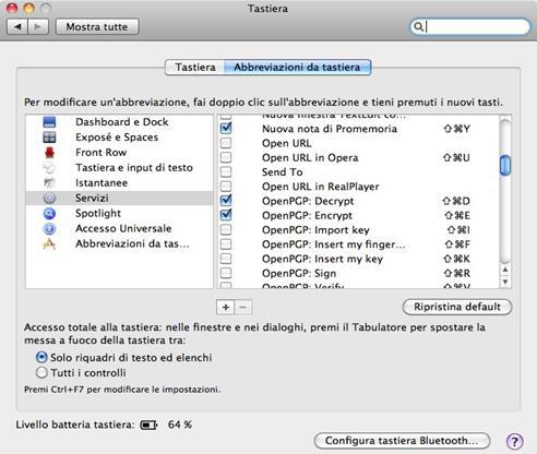 La finestra di Preferenze servizi su MAC mostra le impostazioni per cifrare/decifrare